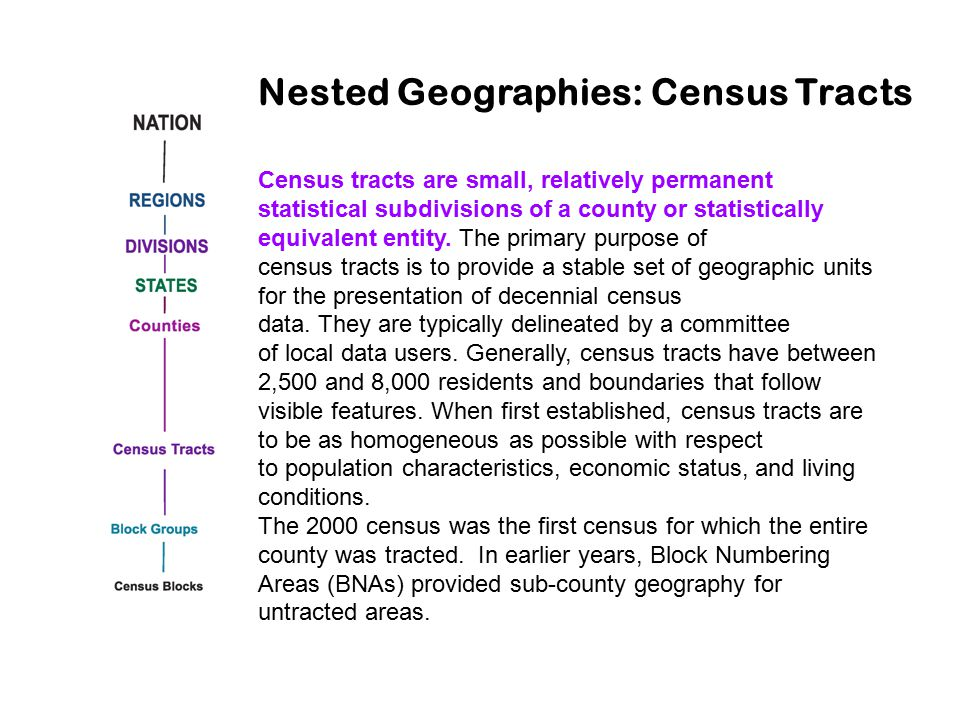 Census tracts are small, relatively permanent statistical subdivisions of a county or statistically equivalent entity. The primary purpose of census t