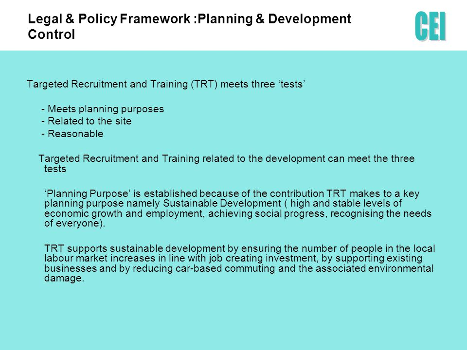 Case Study 1: Housing Hartlepool TRT Charter in place Contractual clause and method statement – targets/outcomes agreed.