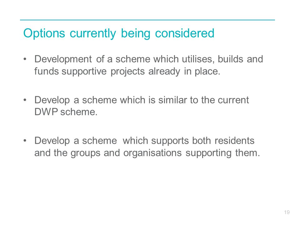 19 Options currently being considered Development of a scheme which utilises, builds and funds supportive projects already in place.