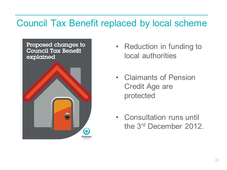 20 Council Tax Benefit replaced by local scheme Reduction in funding to local authorities Claimants of Pension Credit Age are protected Consultation runs until the 3 rd December 2012.