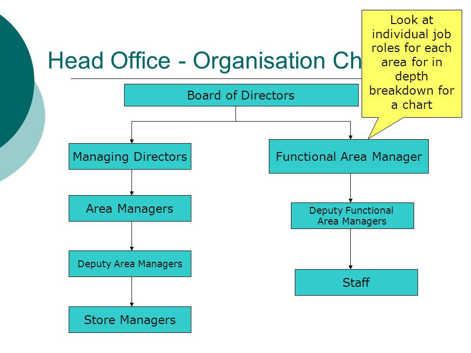 Head Office - Organisation Chart Board of Directors Managing Directors Functional Area Manager Area Managers Deputy Area Managers Deputy Functional Ar