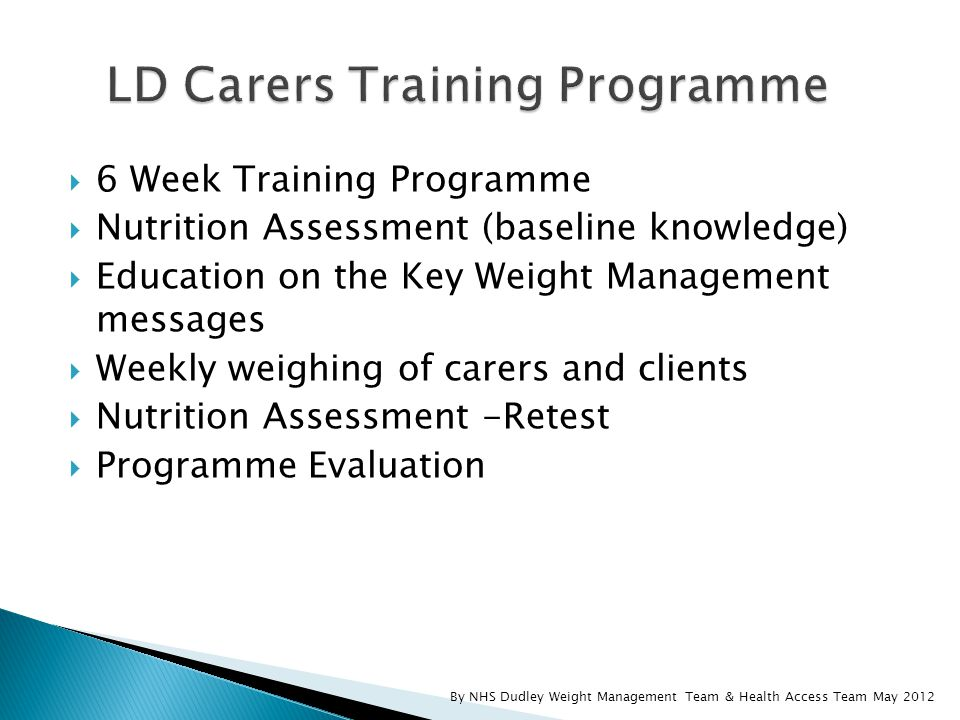 By NHS Dudley Weight Management Team & Health Access Team May 2012  6 Week Training Programme  Nutrition Assessment (baseline knowledge)  Education on the Key Weight Management messages  Weekly weighing of carers and clients  Nutrition Assessment -Retest  Programme Evaluation
