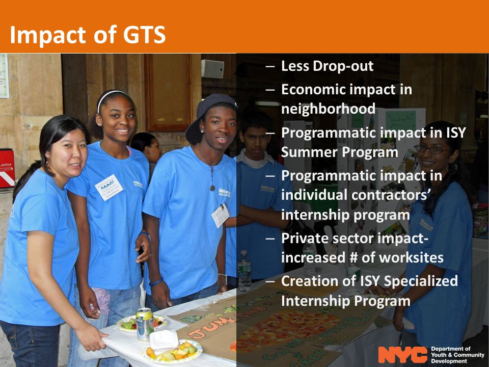 Impact of GTS – Less Drop-out – Economic impact in neighborhood – Programmatic impact in ISY Summer Program – Programmatic impact in individual contractors' internship program – Private sector impact- increased # of worksites – Creation of ISY Specialized Internship Program