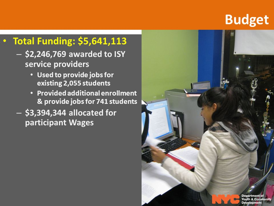 Budget Total Funding: $5,641,113 – $2,246,769 awarded to ISY service providers Used to provide jobs for existing 2,055 students Provided additional enrollment & provide jobs for 741 students – $3,394,344 allocated for participant Wages