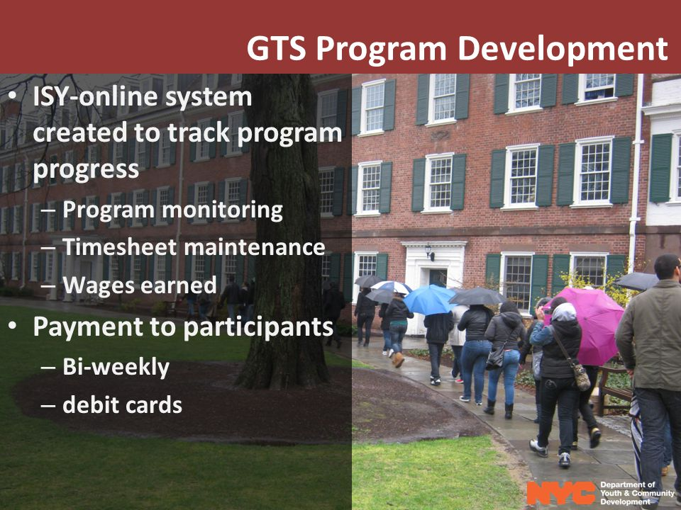 GTS Program Development ISY-online system created to track program progress – Program monitoring – Timesheet maintenance – Wages earned Payment to participants – Bi-weekly – debit cards