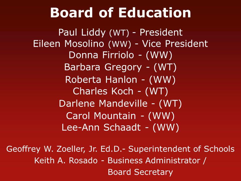 Board of Education Paul Liddy (WT) - President Eileen Mosolino (WW) - Vice President Donna Firriolo - (WW) Barbara Gregory - (WT) Roberta Hanlon - (WW