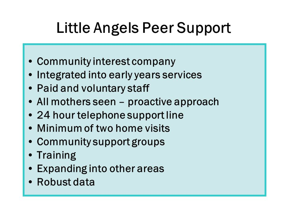Little Angels Peer Support Community interest company Integrated into early years services Paid and voluntary staff All mothers seen – proactive approach 24 hour telephone support line Minimum of two home visits Community support groups Training Expanding into other areas Robust data