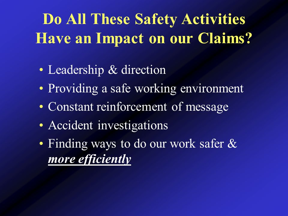 Do All These Safety Activities Have an Impact on our Claims.