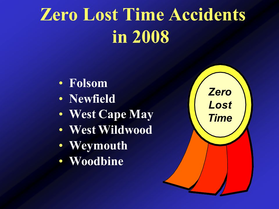 Zero Lost Time Accidents in 2008 Zero Lost Time Folsom Newfield West Cape May West Wildwood Weymouth Woodbine