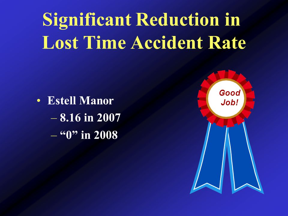 Significant Reduction in Lost Time Accident Rate Good Job! Estell Manor –8.16 in 2007 – 0 in 2008