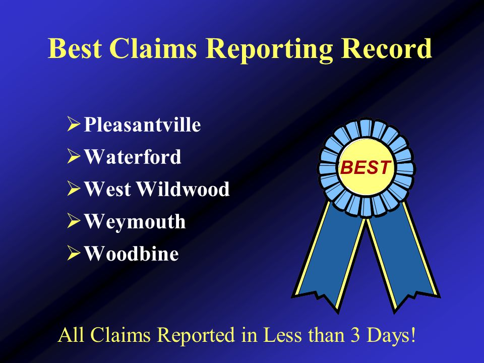 Best Claims Reporting Record  Pleasantville  Waterford  West Wildwood  Weymouth  Woodbine BEST All Claims Reported in Less than 3 Days!