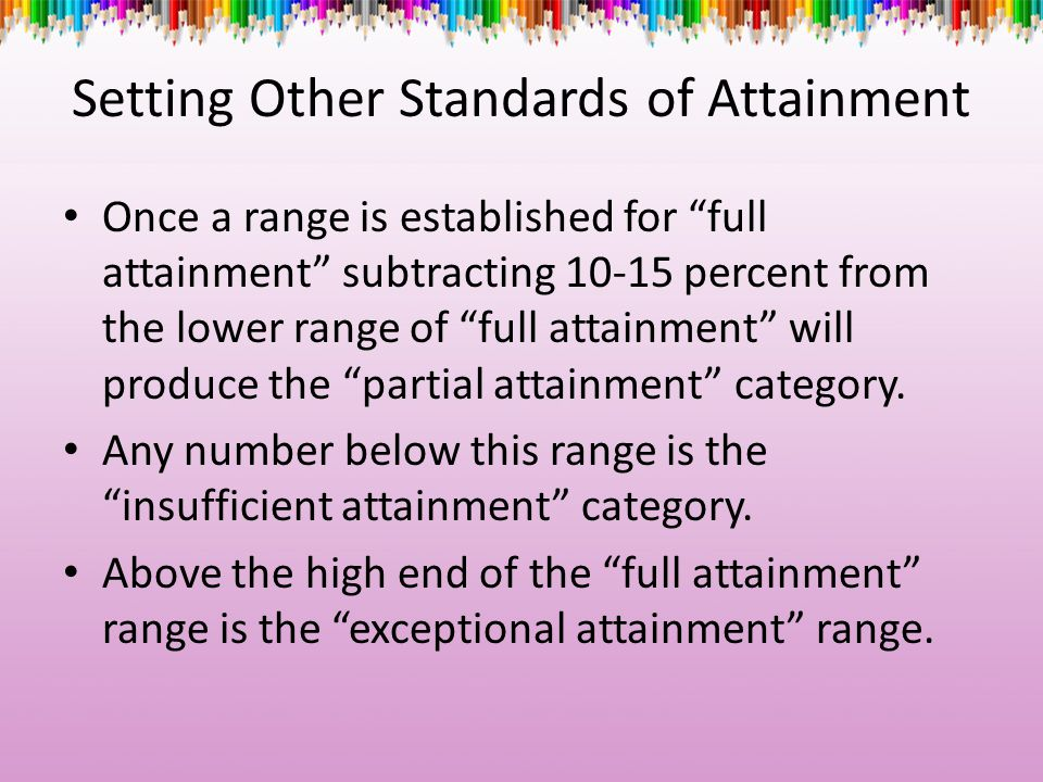 "Setting Other Standards of Attainment Once a range is established for ""full attainment"" subtracting 10-15 percent from the lower range of ""full attain"