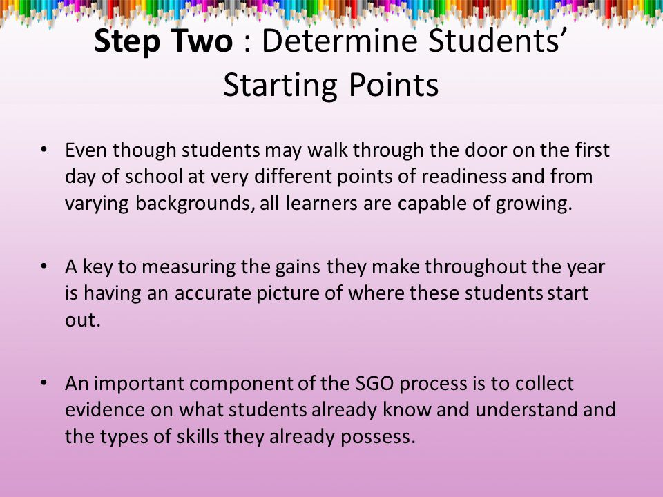 Step Two : Determine Students' Starting Points Even though students may walk through the door on the first day of school at very different points of r