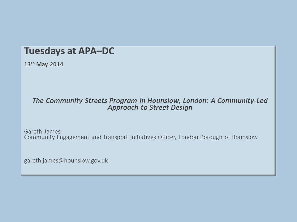 Wigley Road – Design  Agreed an approach that could include road closures, traffic calming, and place-making  Gathered baseline speed and volume data  Developed designs through extensive engagement:  12 official meetings (and several more besides)  Emails, letters, phone conversations, and blog  Door knocking and home visits  Trialed closure of service road access for 7 weeks in Sept.