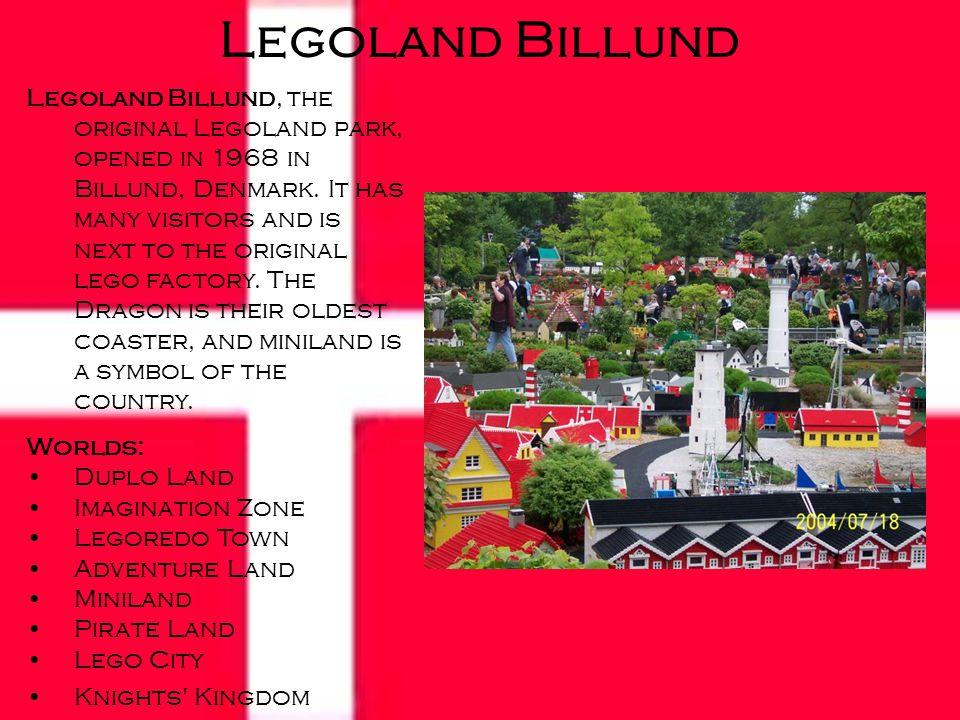 Legoland Billund, the original Legoland park, opened in 1968 in Billund, Denmark.
