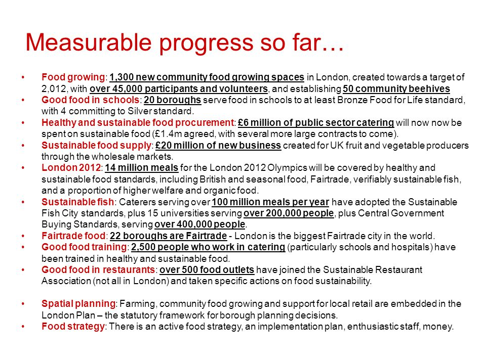 Borough committed to creating food growing spaces with Capital Growth Borough making good progress towards supporting community food growing Borough not yet making significant progress to support community food growing What are London Boroughs doing for community food growing.