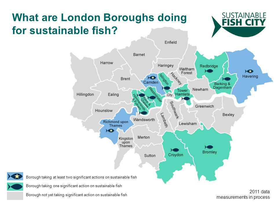 Borough taking at least two significant actions on sustainable fish Borough taking one significant action on sustainable fish Borough not yet taking significant action on sustainable fish What are London Boroughs doing for sustainable fish.