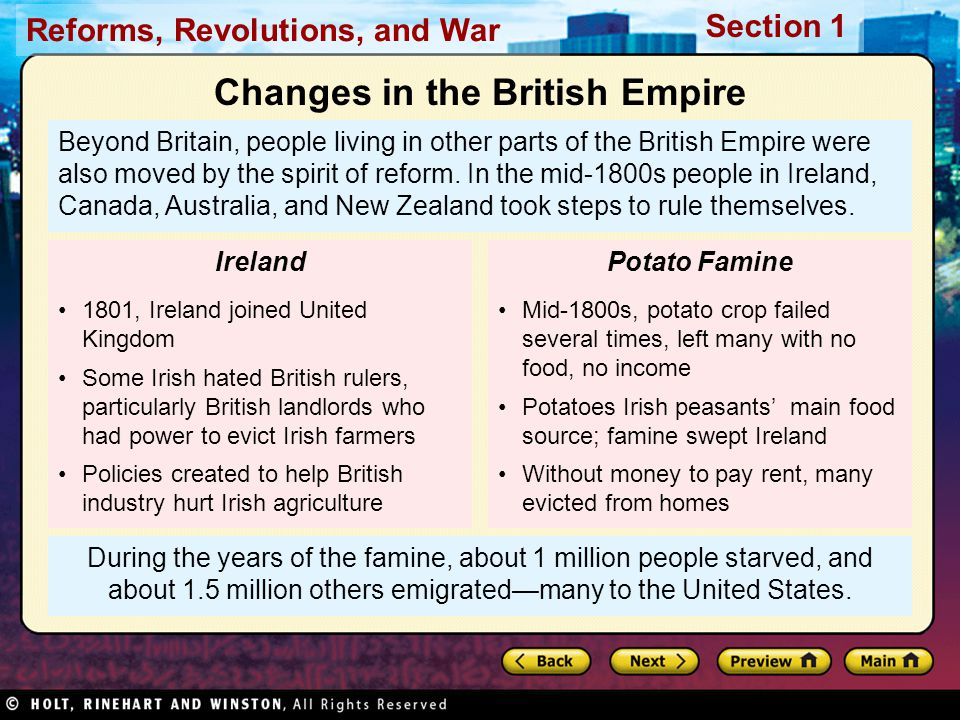Reforms, Revolutions, and War Section 1 During the years of the famine, about 1 million people starved, and about 1.5 million others emigrated—many to the United States.