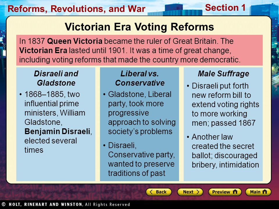Reforms, Revolutions, and War Section 1 In 1837 Queen Victoria became the ruler of Great Britain.