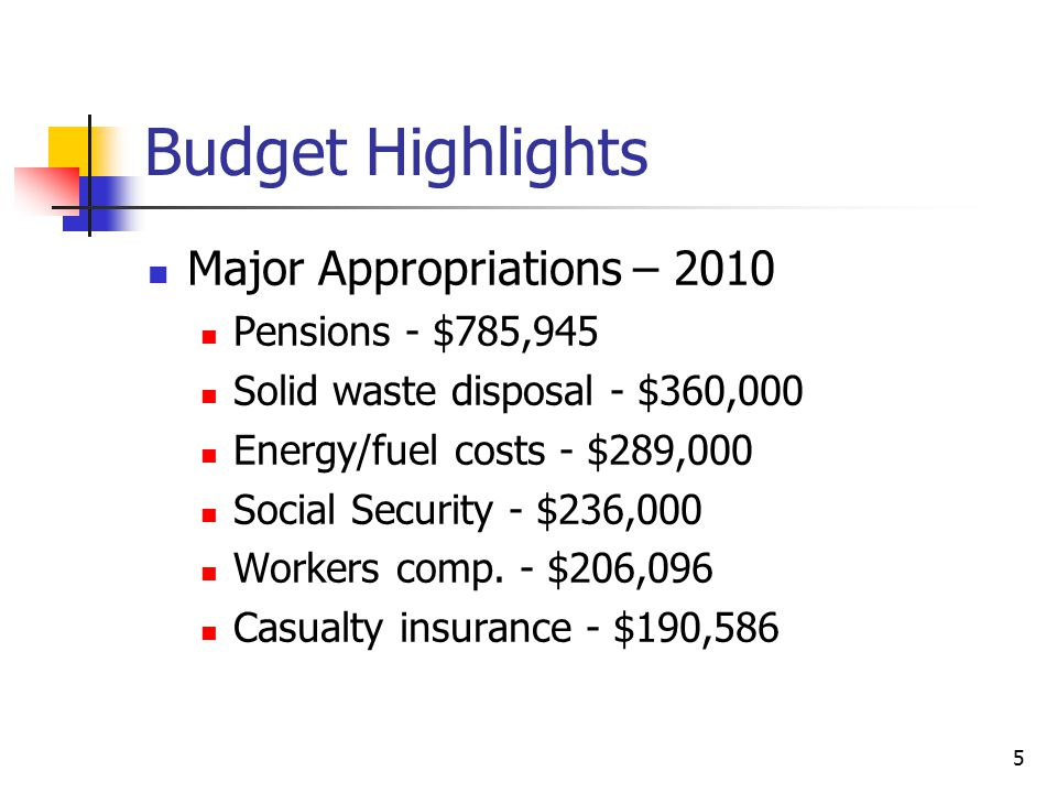 Budget Highlights Major Appropriations – 2010 Pensions - $785,945 Solid waste disposal - $360,000 Energy/fuel costs - $289,000 Social Security - $236,