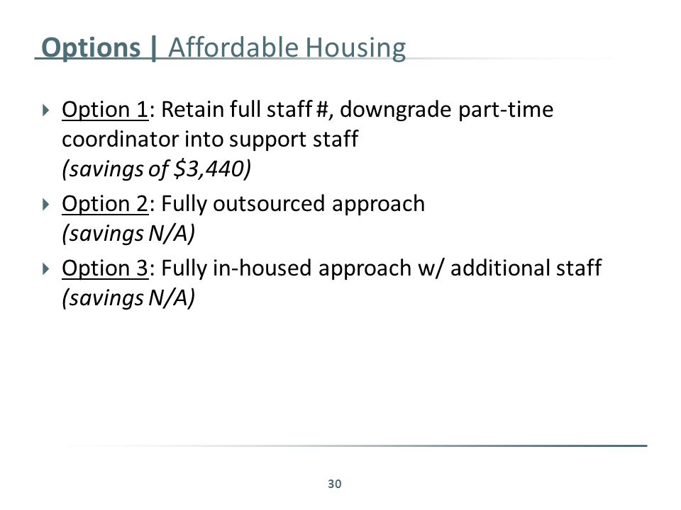 Options | Affordable Housing  Option 1: Retain full staff #, downgrade part-time coordinator into support staff (savings of $3,440)  Option 2: Fully outsourced approach (savings N/A)  Option 3: Fully in-housed approach w/ additional staff (savings N/A) 30