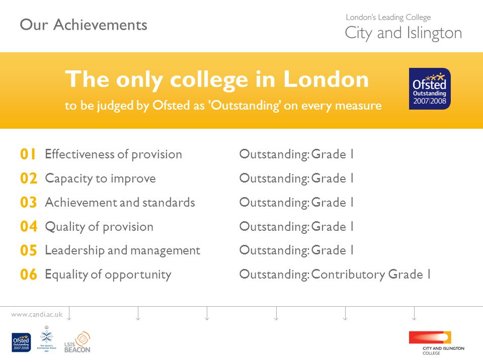 www.candi.ac.uk IQER 2007 Confidence on the College's management of its responsibilities, as set out in its partnership agreements, for the standards of awards it offers on behalf of its awarding bodies.