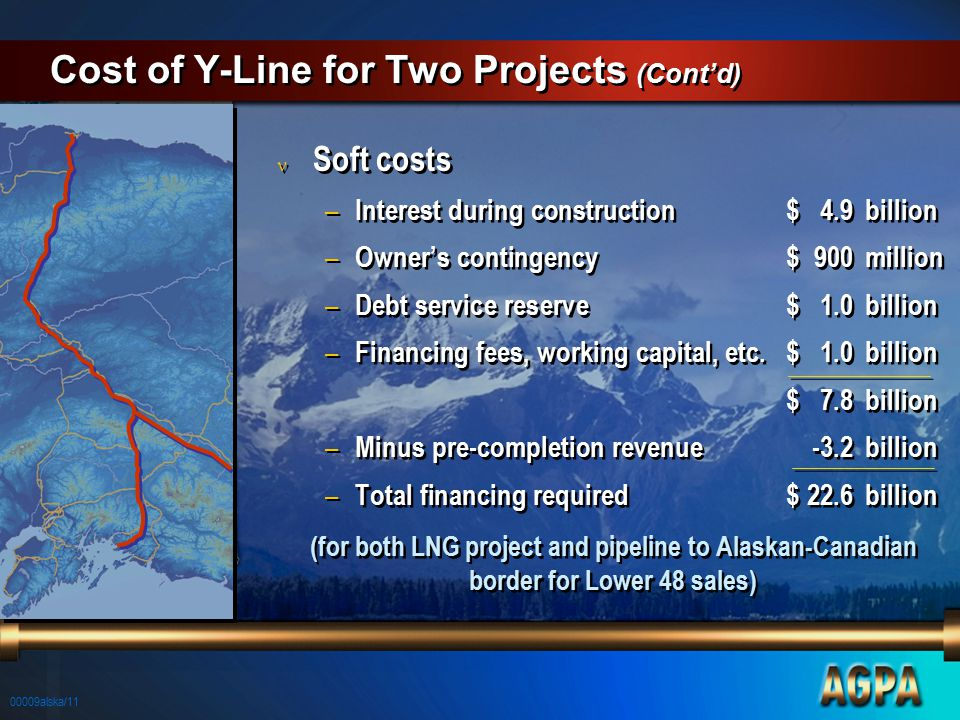 00009alska/11 Cost of Y-Line for Two Projects (Cont'd) n Soft costs – Interest during construction$4.9billion – Owner's contingency$900million – Debt