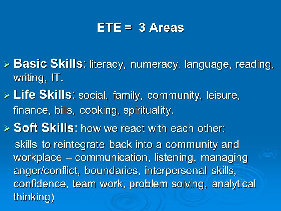 ETE = 3 Areas  Basic Skills: literacy, numeracy, language, reading, writing, IT.