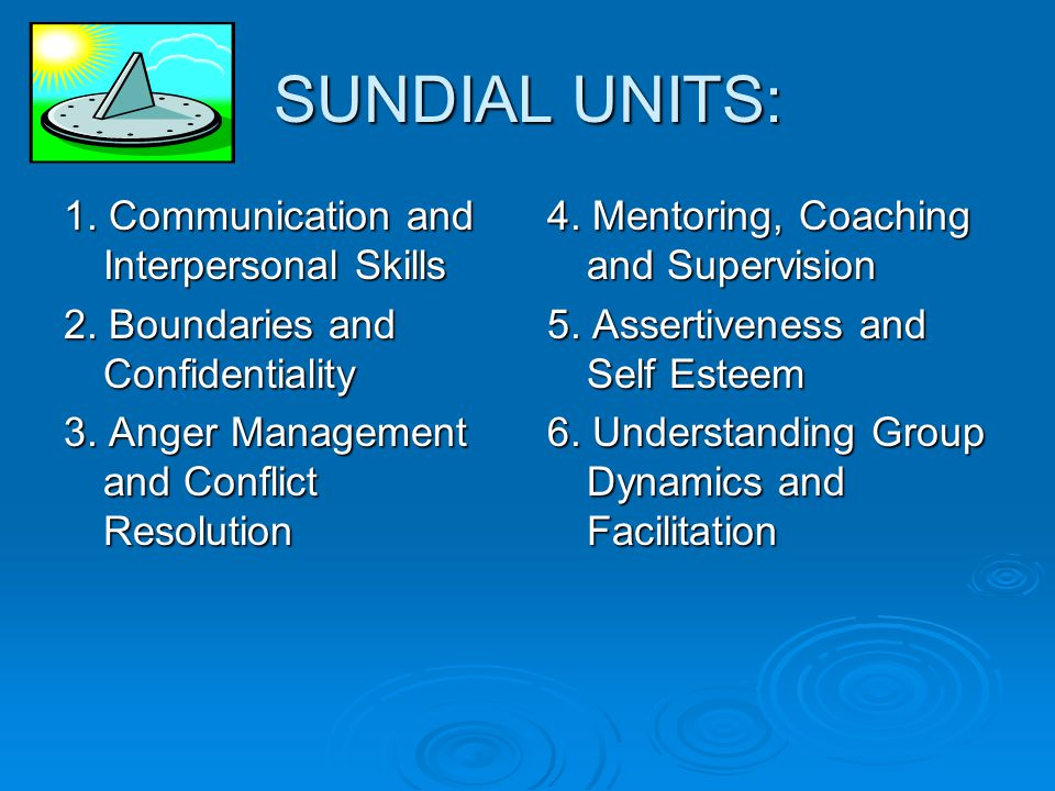 SUNDIAL UNITS: 1. Communication and Interpersonal Skills 2.