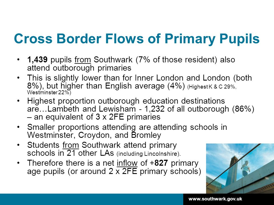 www.southwark.gov.uk Cross Border Flows of Primary Pupils 1,439 pupils from Southwark (7% of those resident) also attend outborough primaries This is slightly lower than for Inner London and London (both 8%), but higher than English average (4%) (Highest K & C 29%, Westminster 22%) Highest proportion outborough education destinations are…Lambeth and Lewisham - 1,232 of all outborough (86%) – an equivalent of 3 x 2FE primaries Smaller proportions attending are attending schools in Westminster, Croydon, and Bromley Students from Southwark attend primary schools in 21 other LAs (including Lincolnshire).