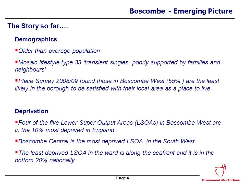 Page 5 Boscombe - Emerging Picture The Story so far….