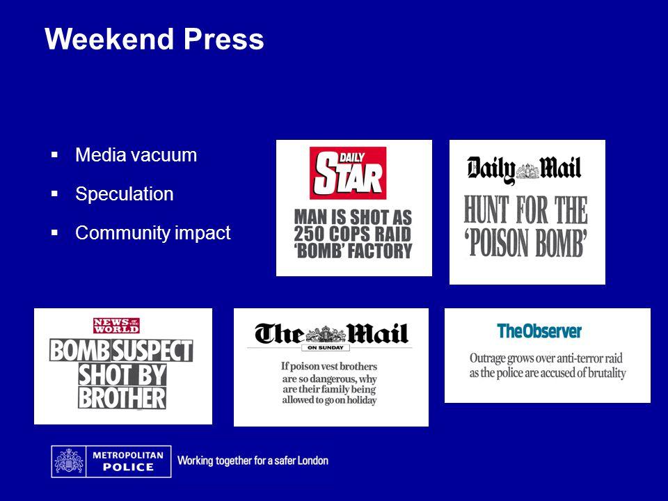 Weekend Press  Media vacuum  Speculation  Community impact