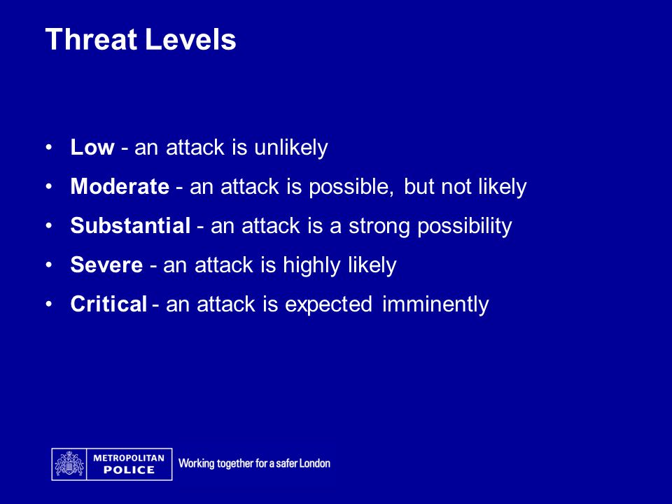 Threat Levels Low - an attack is unlikely Moderate - an attack is possible, but not likely Substantial - an attack is a strong possibility Severe - an attack is highly likely Critical - an attack is expected imminently
