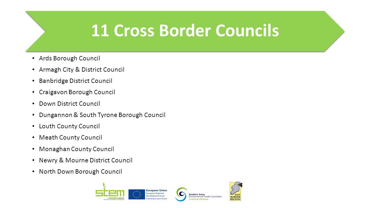 11 Cross Border Councils Ards Borough Council Armagh City & District Council Banbridge District Council Craigavon Borough Council Down District Counci