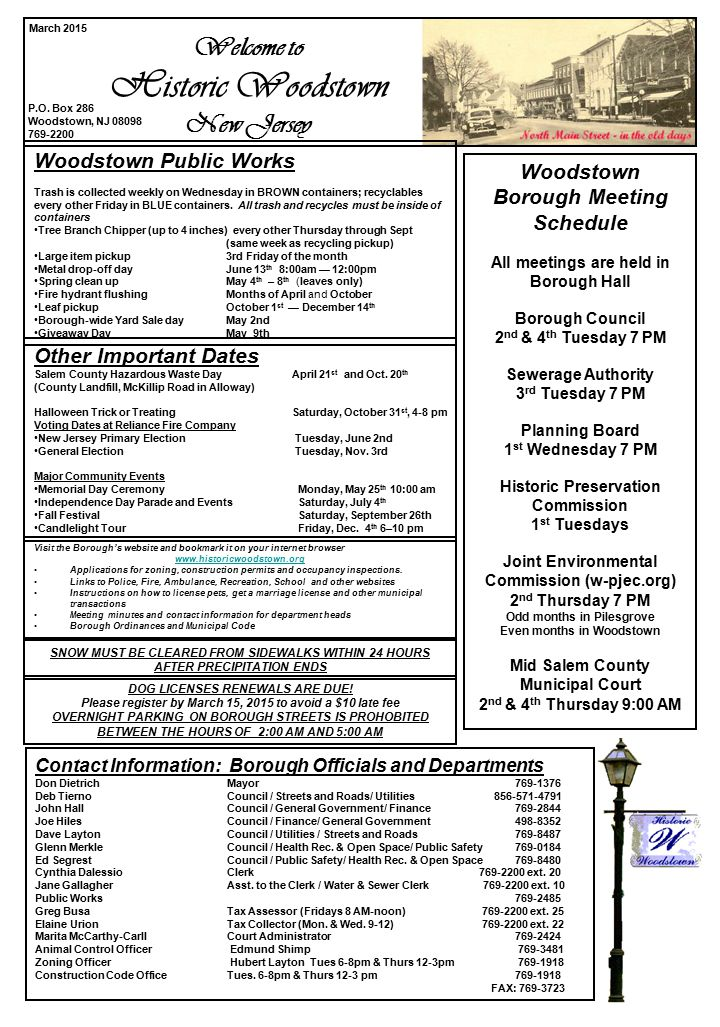 Welcome to Historic Woodstown New Jersey Other Important Dates Salem County Hazardous Waste Day April 21 st and Oct. 20 th (County Landfill, McKillip