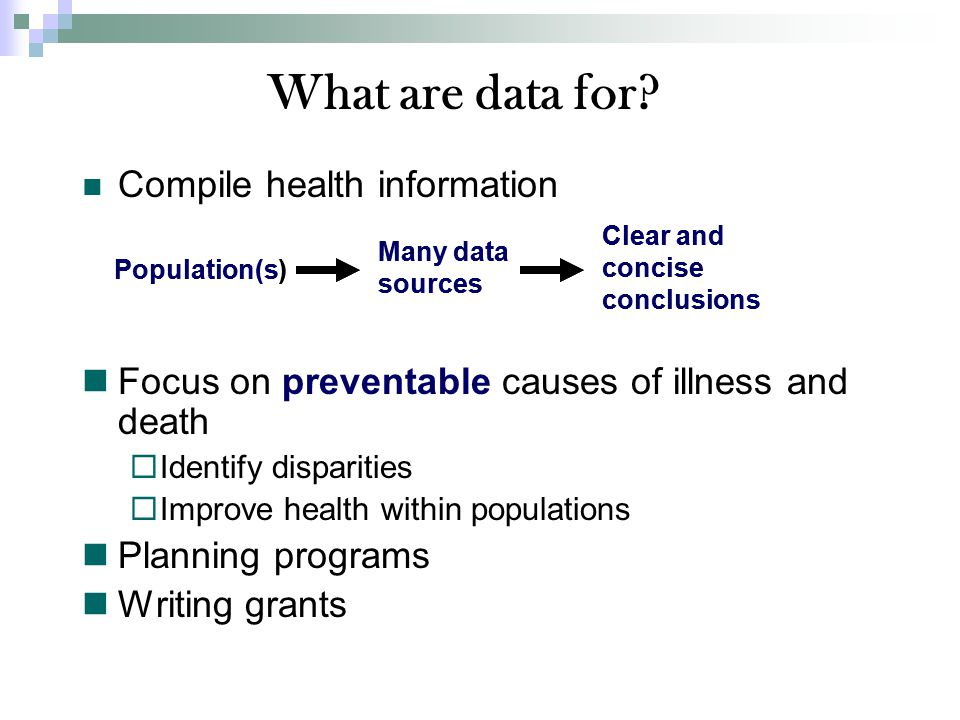 Compile health information Focus on preventable causes of illness and death  Identify disparities  Improve health within populations Planning programs Writing grants What are data for.