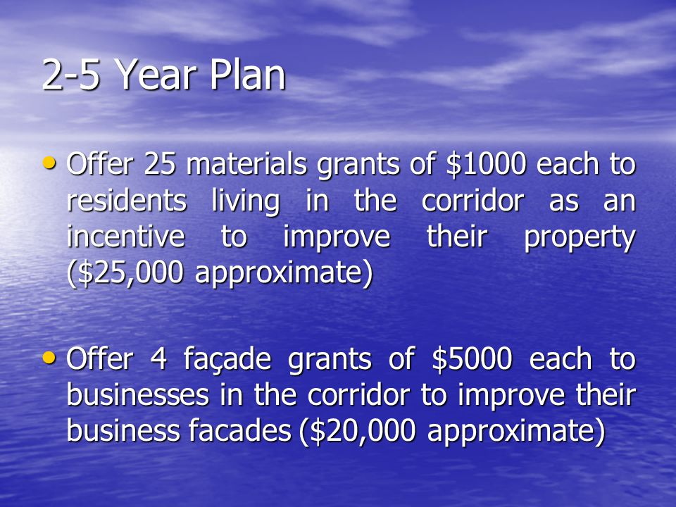 2-5 Year Plan Offer 25 materials grants of $1000 each to residents living in the corridor as an incentive to improve their property ($25,000 approximate) Offer 25 materials grants of $1000 each to residents living in the corridor as an incentive to improve their property ($25,000 approximate) Offer 4 façade grants of $5000 each to businesses in the corridor to improve their business facades ($20,000 approximate) Offer 4 façade grants of $5000 each to businesses in the corridor to improve their business facades ($20,000 approximate)