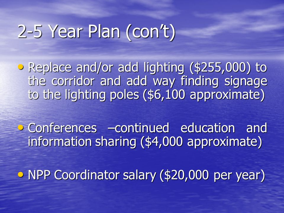 2-5 Year Plan (con't) Replace and/or add lighting ($255,000) to the corridor and add way finding signage to the lighting poles ($6,100 approximate) Replace and/or add lighting ($255,000) to the corridor and add way finding signage to the lighting poles ($6,100 approximate) Conferences –continued education and information sharing ($4,000 approximate) Conferences –continued education and information sharing ($4,000 approximate) NPP Coordinator salary ($20,000 per year) NPP Coordinator salary ($20,000 per year)