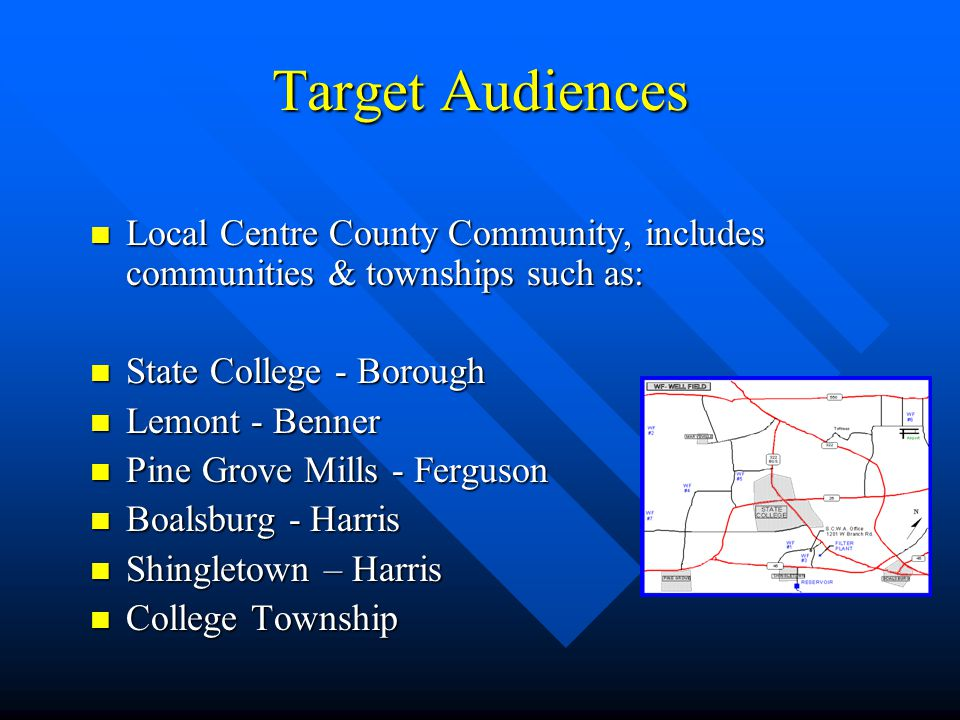 Target Audiences Local Centre County Community, includes communities & townships such as: Local Centre County Community, includes communities & townships such as: State College - Borough State College - Borough Lemont - Benner Lemont - Benner Pine Grove Mills - Ferguson Pine Grove Mills - Ferguson Boalsburg - Harris Boalsburg - Harris Shingletown – Harris Shingletown – Harris College Township College Township