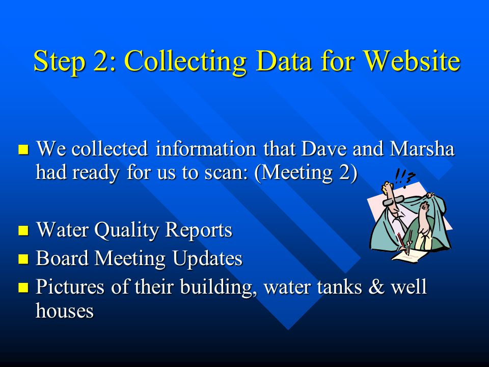 Step 2: Collecting Data for Website We collected information that Dave and Marsha had ready for us to scan: (Meeting 2) We collected information that Dave and Marsha had ready for us to scan: (Meeting 2) Water Quality Reports Water Quality Reports Board Meeting Updates Board Meeting Updates Pictures of their building, water tanks & well houses Pictures of their building, water tanks & well houses