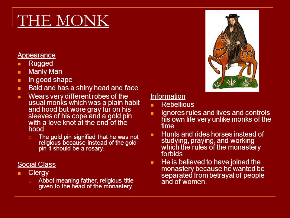 THE MONK Appearance Rugged Manly Man In good shape Bald and has a shiny head and face Wears very different robes of the usual monks which was a plain