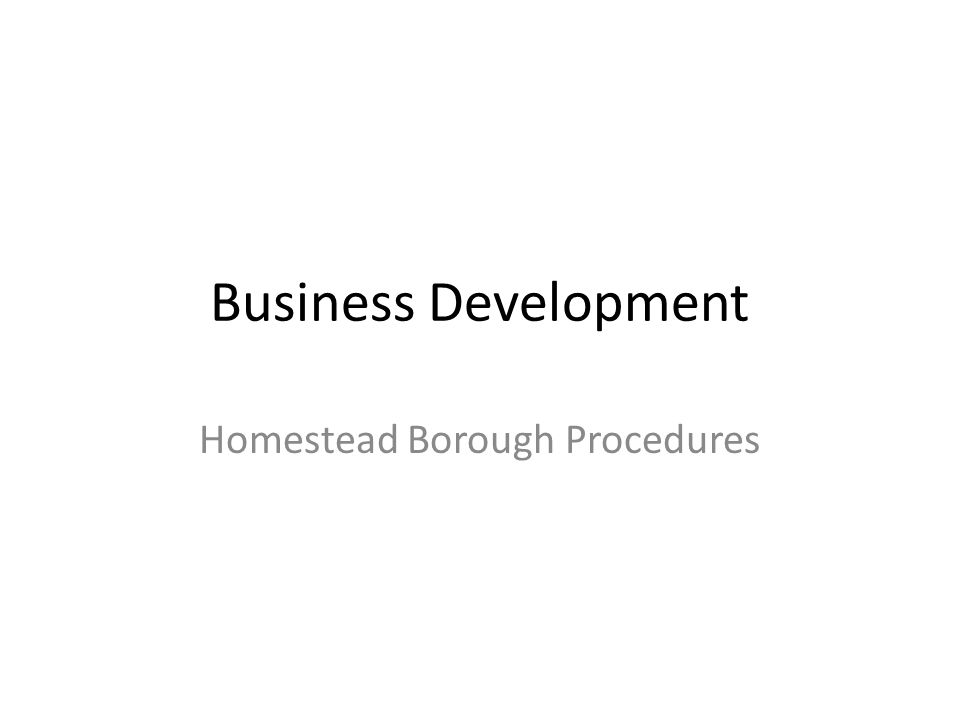 Business Development Homestead Borough Procedures