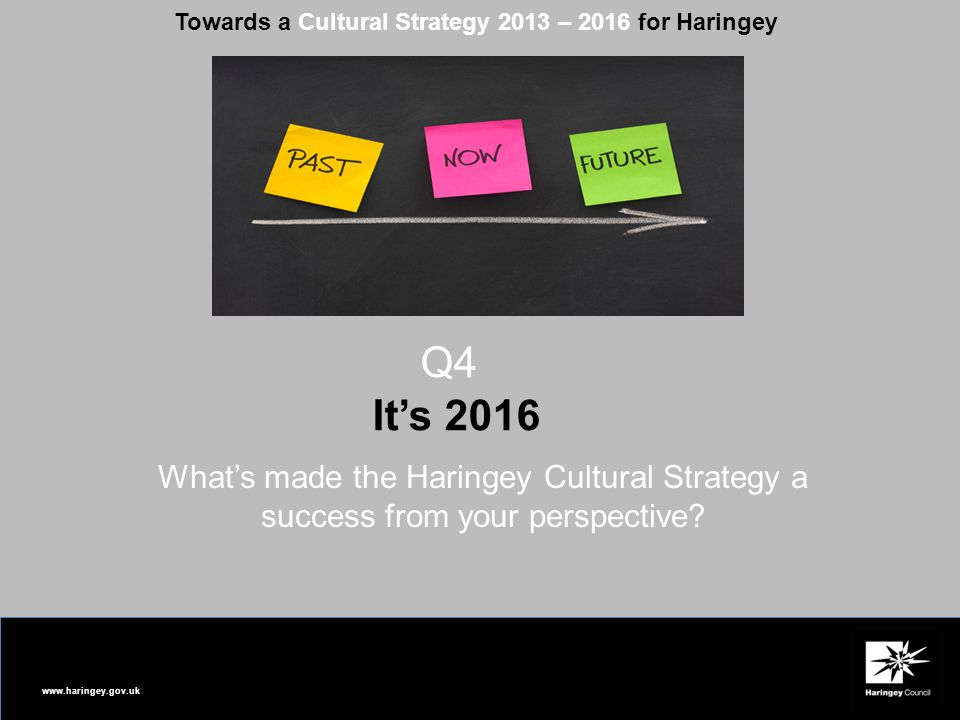 www.haringey.gov.uk Towards a Cultural Strategy 2013 – 2016 for Haringey Q4 It's 2016 What's made the Haringey Cultural Strategy a success from your perspective