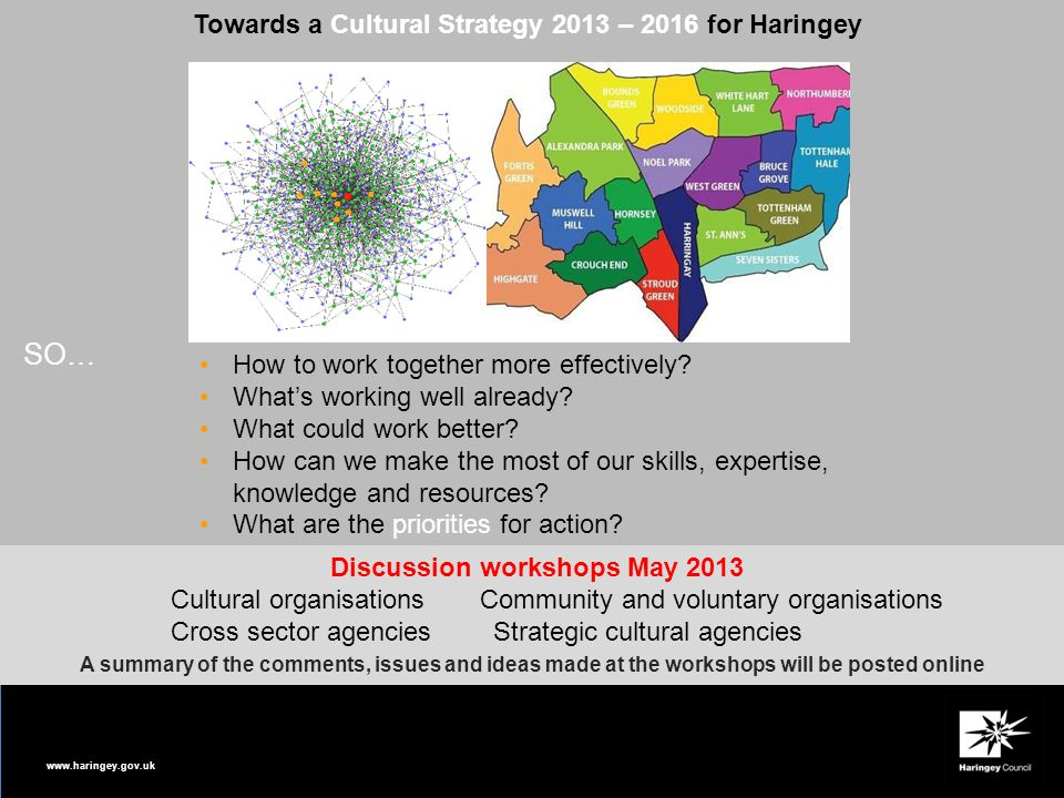 www.haringey.gov.uk Towards a Cultural Strategy 2013 – 2016 for Haringey How to work together more effectively? What's working well already? What coul