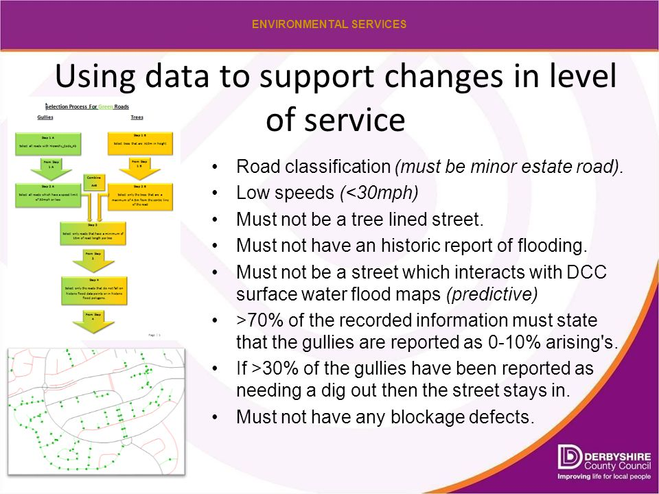 ENVIRONMENTAL SERVICES Using data to support changes in level of service Road classification (must be minor estate road).