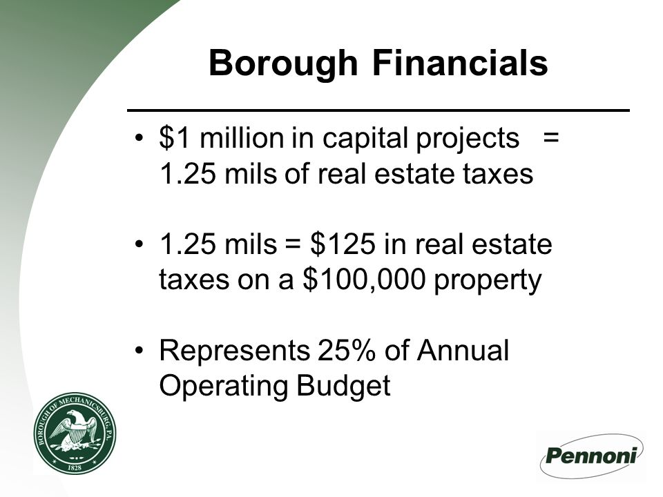 Borough Financials $1 million in capital projects = 1.25 mils of real estate taxes 1.25 mils = $125 in real estate taxes on a $100,000 property Represents 25% of Annual Operating Budget