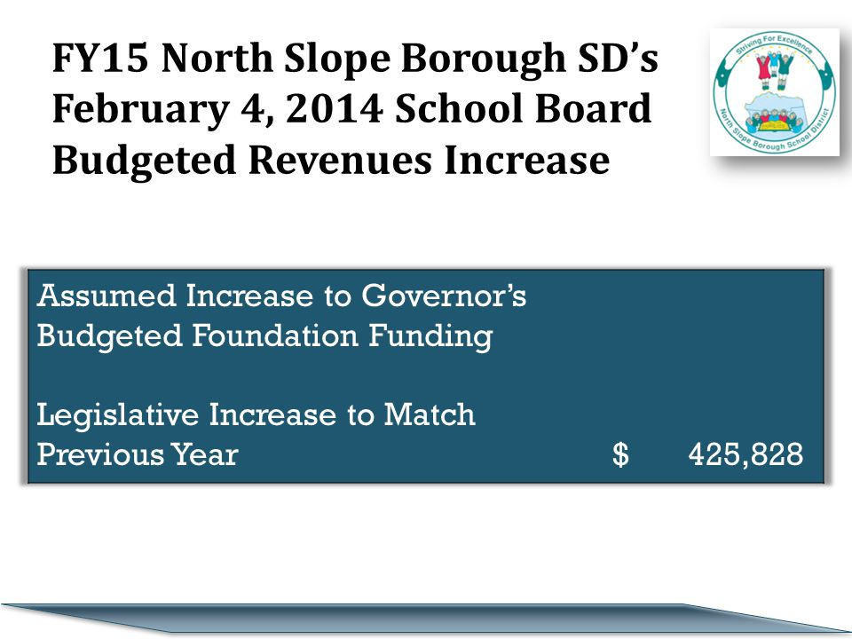 FY15 North Slope Borough SD's February 4, 2014 School Board Budgeted Revenues Increase