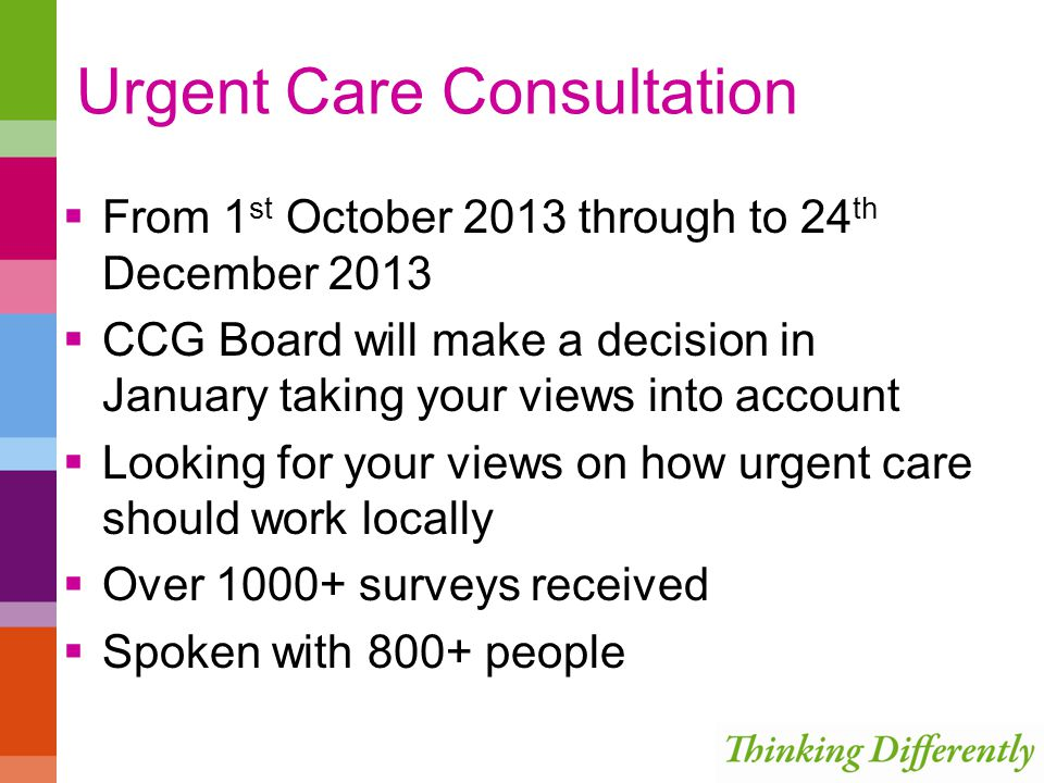 Urgent Care Consultation  From 1 st October 2013 through to 24 th December 2013  CCG Board will make a decision in January taking your views into account  Looking for your views on how urgent care should work locally  Over 1000+ surveys received  Spoken with 800+ people