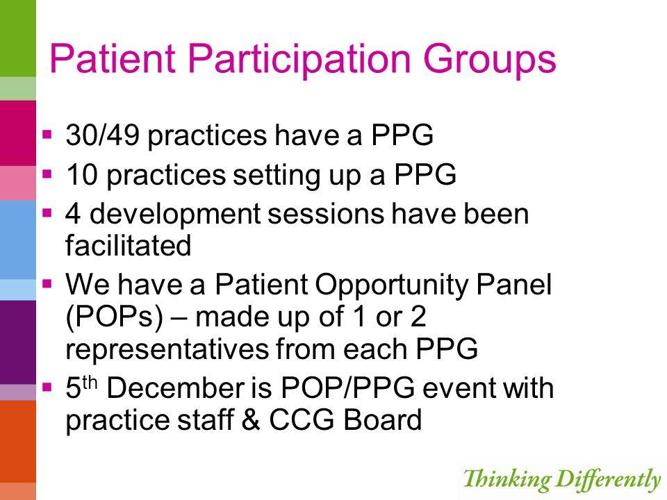 Patient Participation Groups  30/49 practices have a PPG  10 practices setting up a PPG  4 development sessions have been facilitated  We have a Patient Opportunity Panel (POPs) – made up of 1 or 2 representatives from each PPG  5 th December is POP/PPG event with practice staff & CCG Board