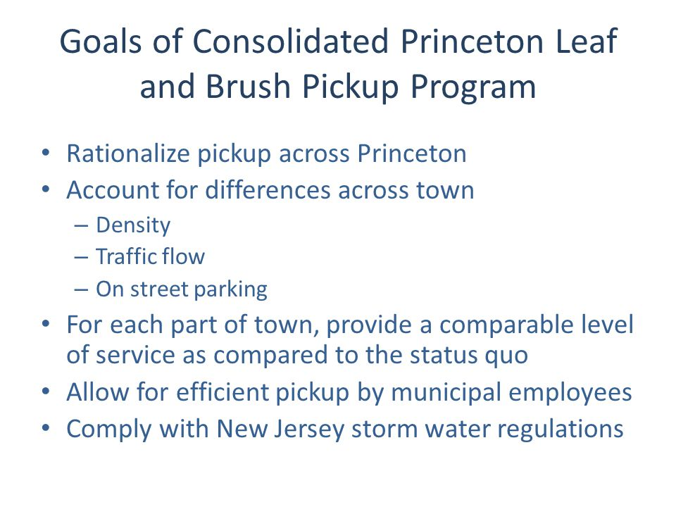 Goals of Consolidated Princeton Leaf and Brush Pickup Program Rationalize pickup across Princeton Account for differences across town – Density – Traffic flow – On street parking For each part of town, provide a comparable level of service as compared to the status quo Allow for efficient pickup by municipal employees Comply with New Jersey storm water regulations